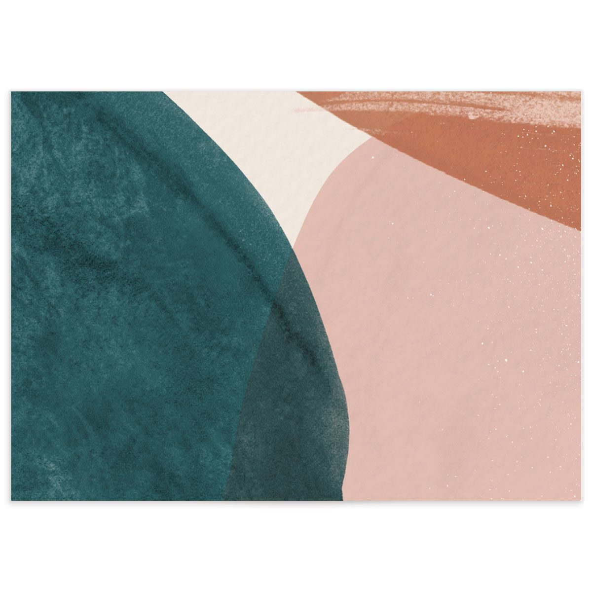 Abstract Watercolor wedding response card back in teal