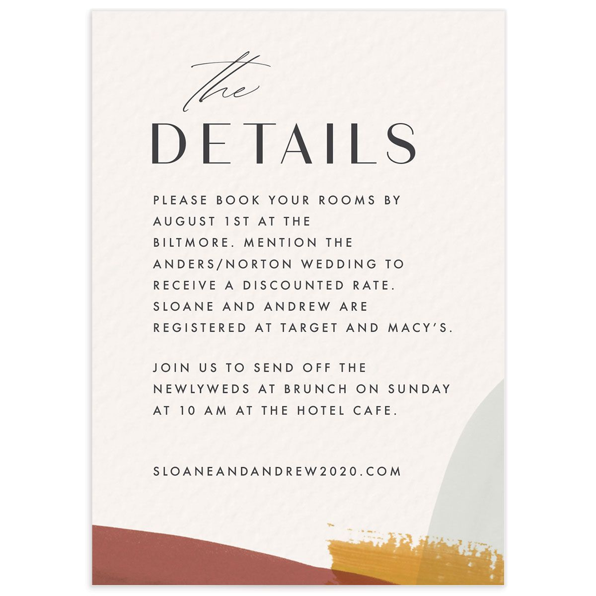 Abstract watercolor wedding enclosure card in gold front
