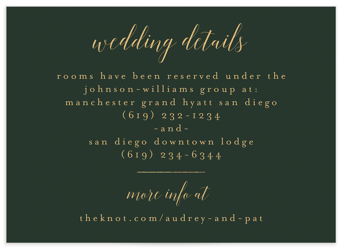 Marble and Gold Wedding Enclosure card front closeup in green