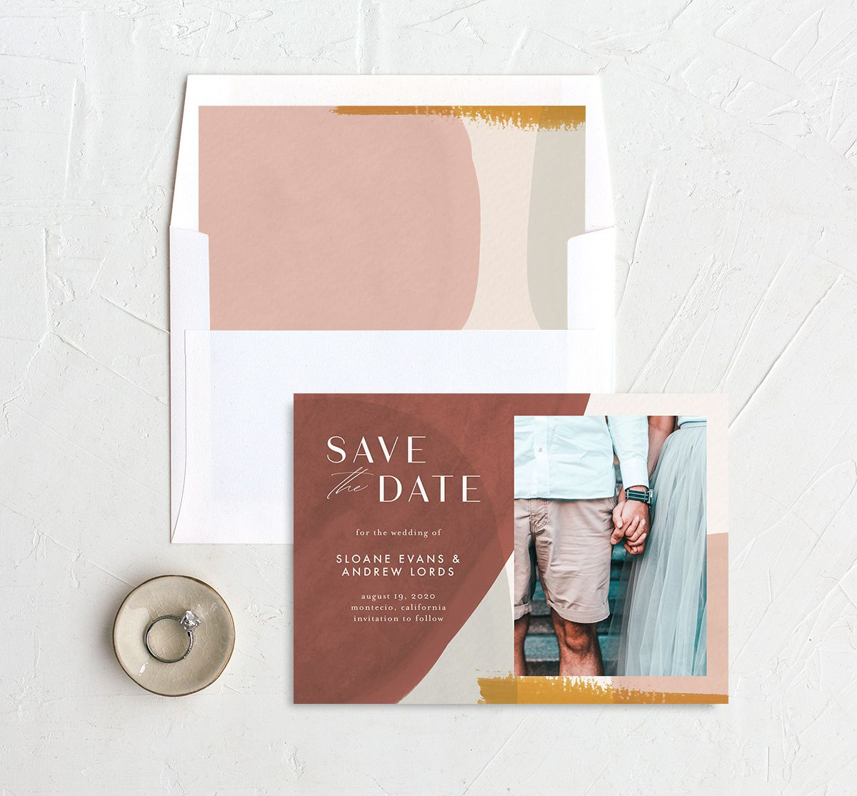 Abstract Watercolor save the date photo card with diy envelope liner in gold