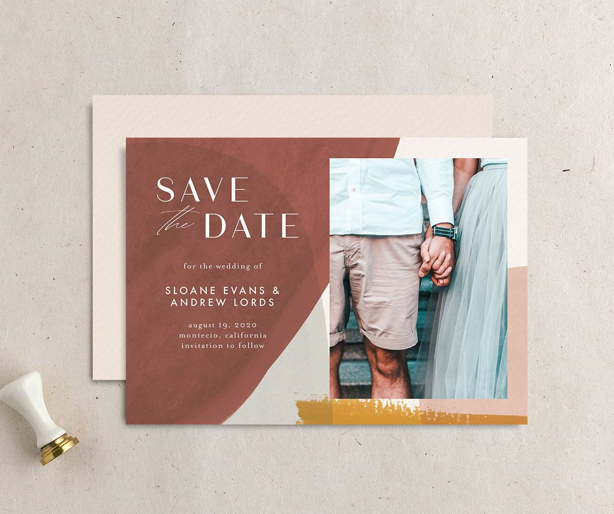 Abstract Watercolor save the date photo card front & back in gold