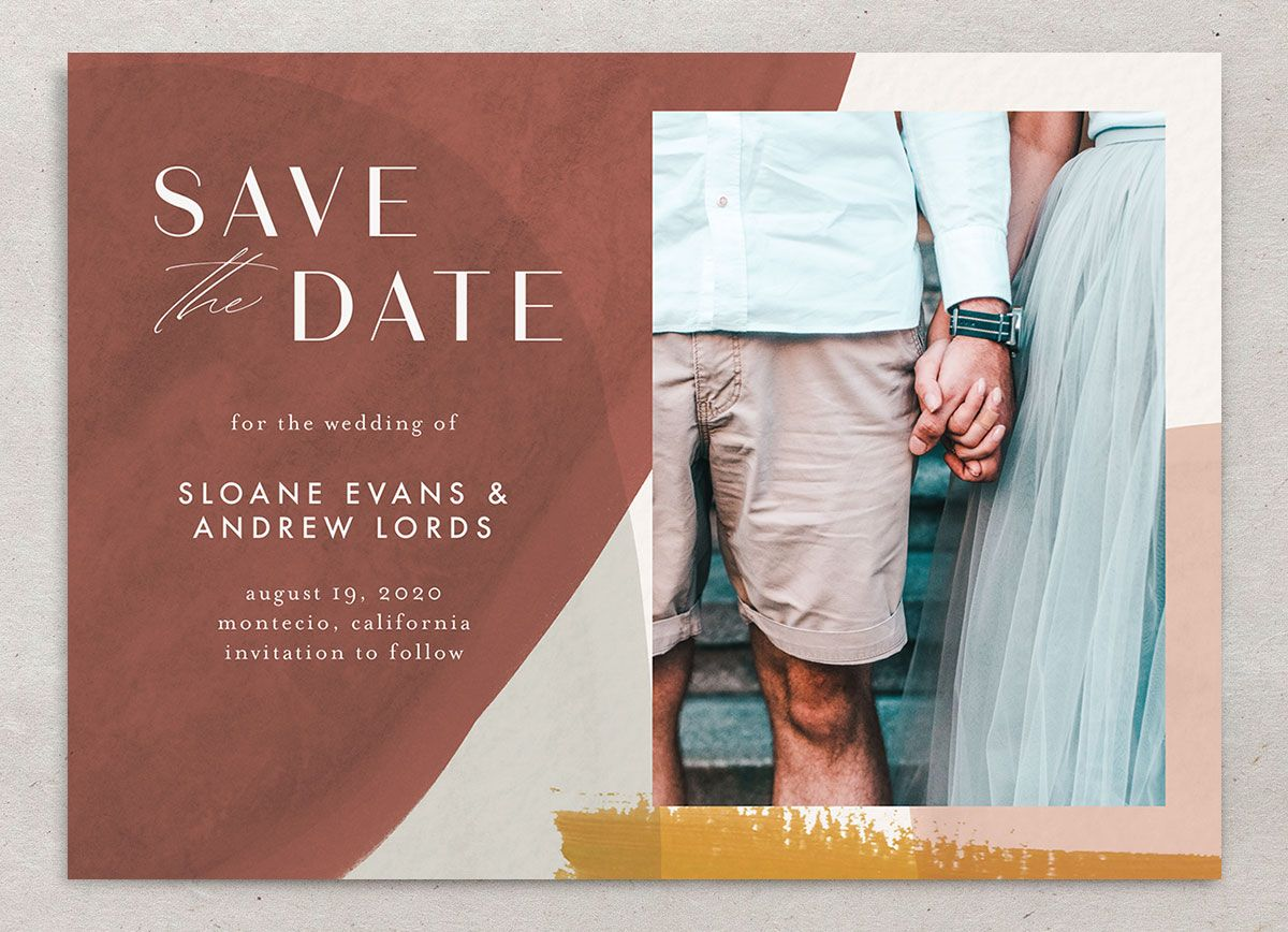 Abstract Watercolor save the date photo card closeup front in gold