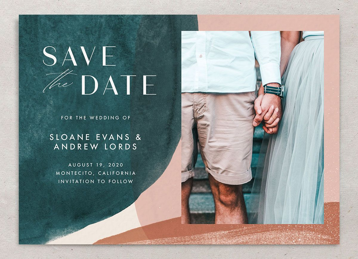 Abstract Watercolor Save The Date Card Front in Teal