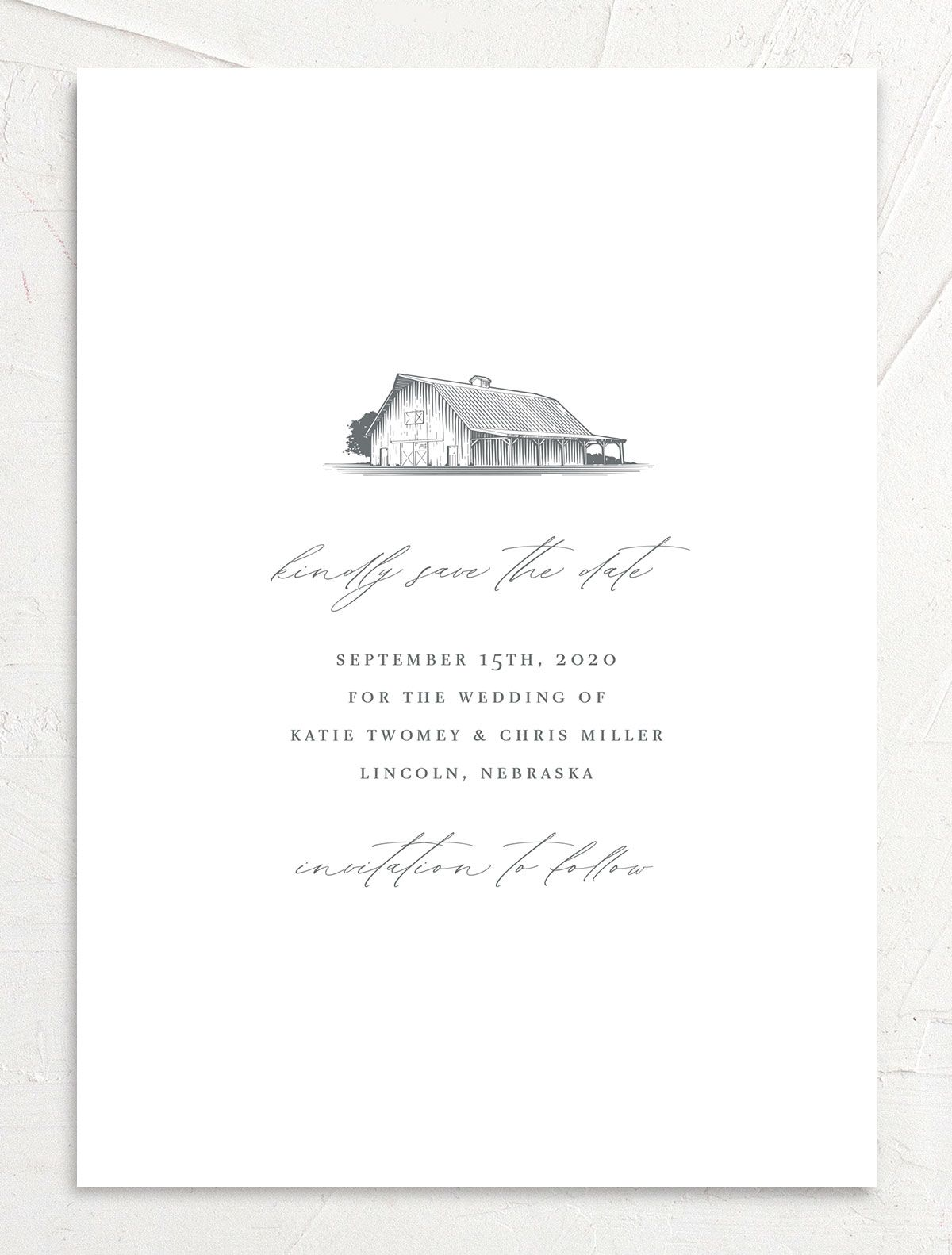 Classic Landscape Save the Date card front closeup in Barn