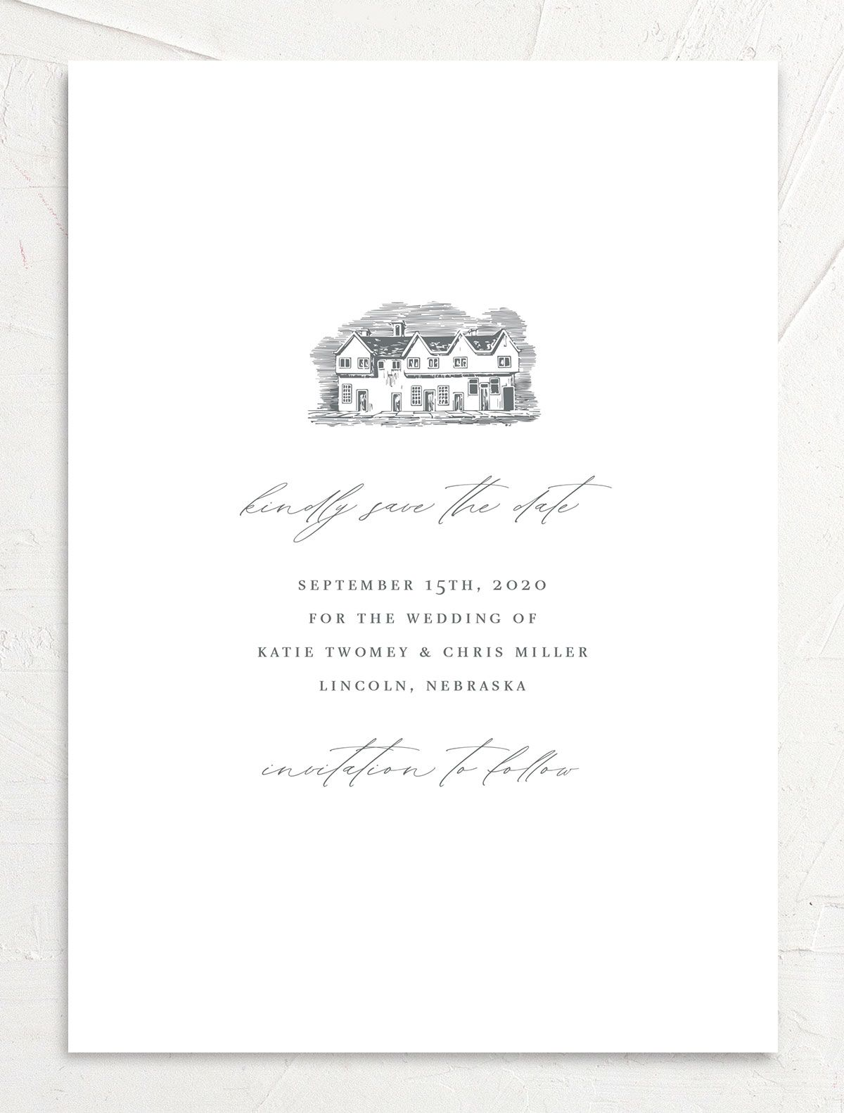 Classic Landscape Save the Date card front closeup in Estate