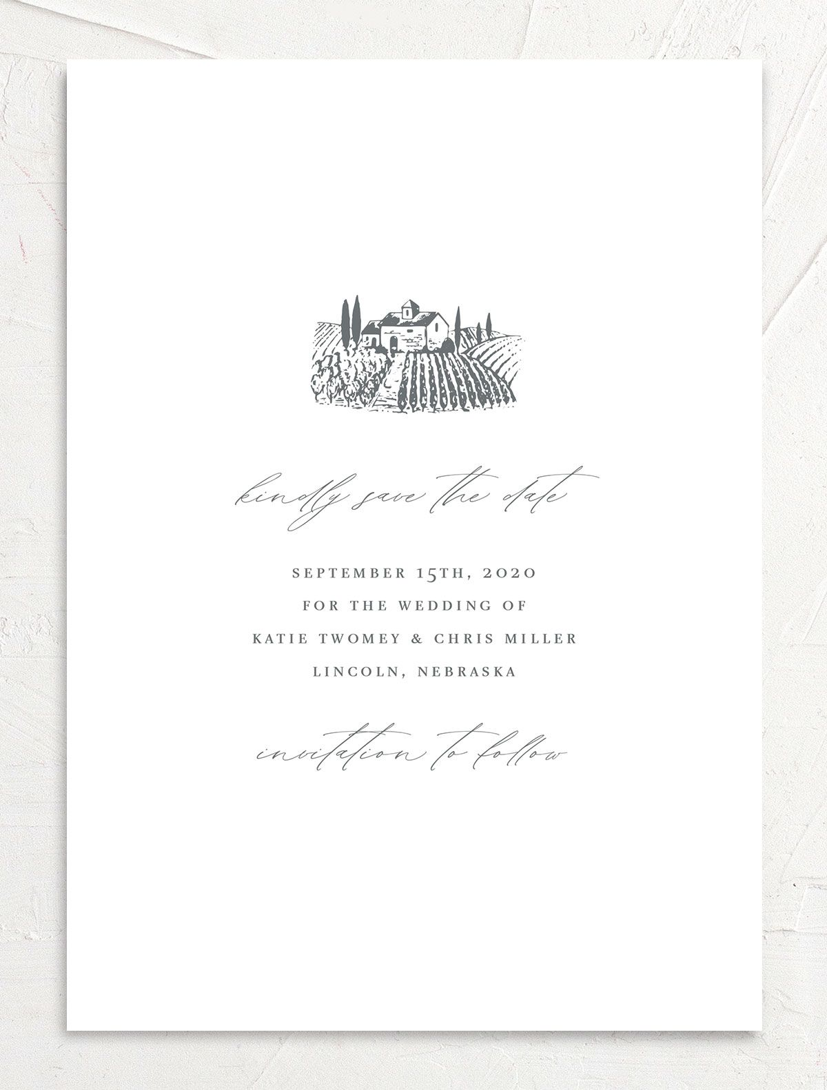 Classic Landscape Save the Date card front closeup in Vineyard