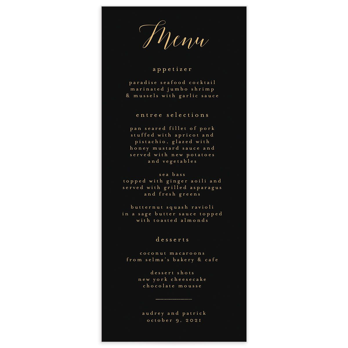 Marble and Gold Menu card front in black