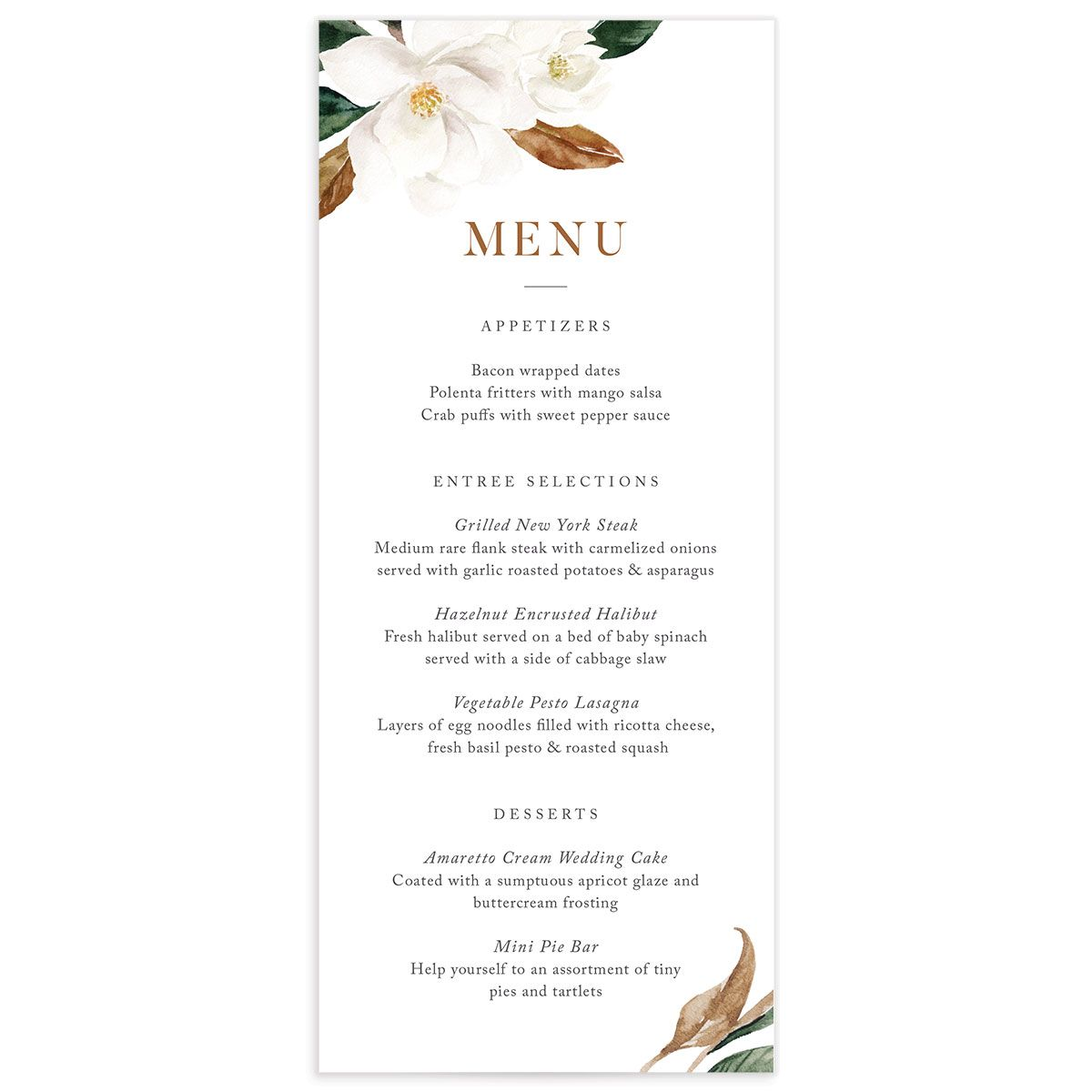 painted magnolia wedding menu front all