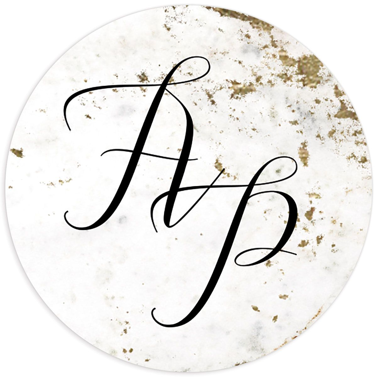 Marble and Gold Wedding Monogram Stickers in black