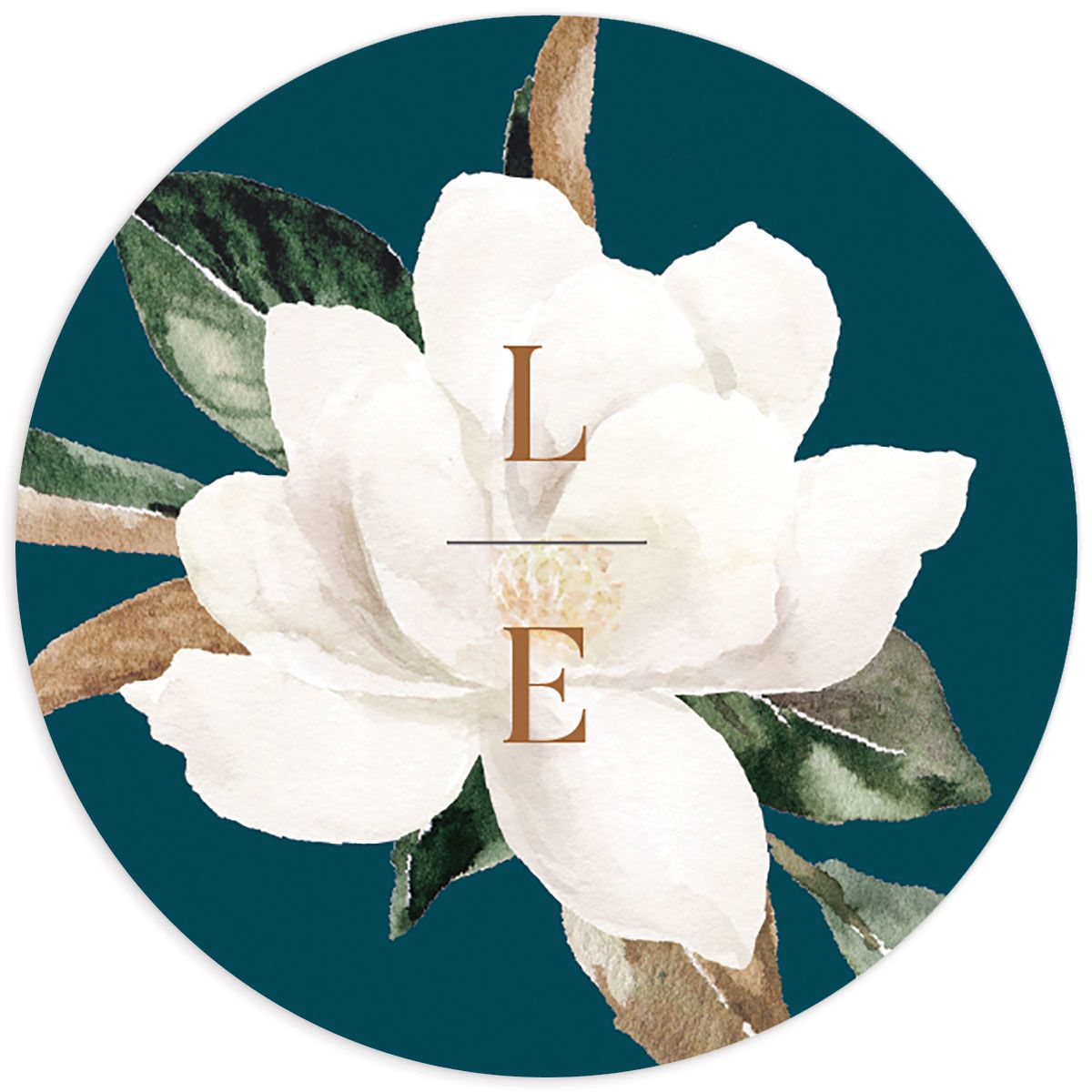 Painted Magnolia wedding sticker label teal