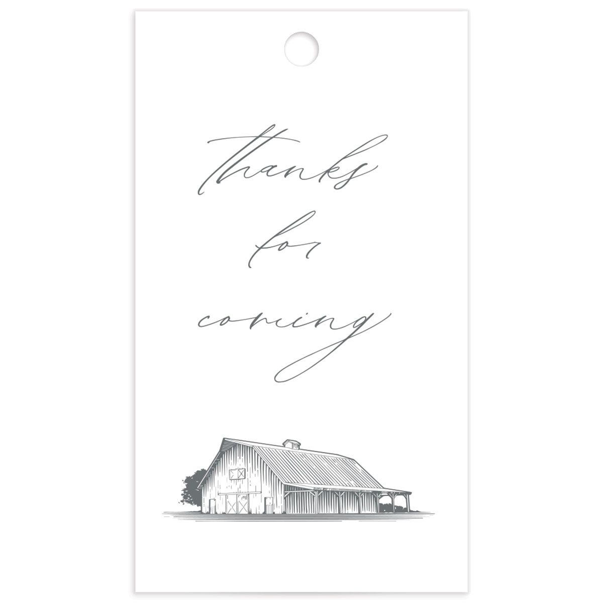 Classic Landscape Wedding Gift Tag front with Barn