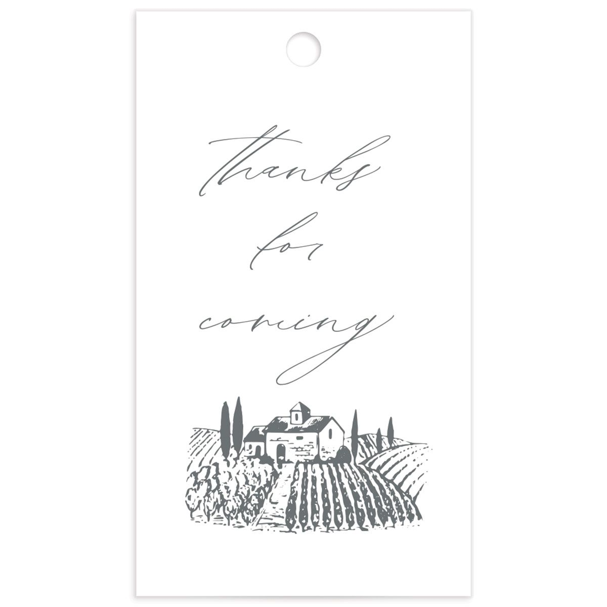 Classic Landscape Wedding Gift Tag front with vineyard