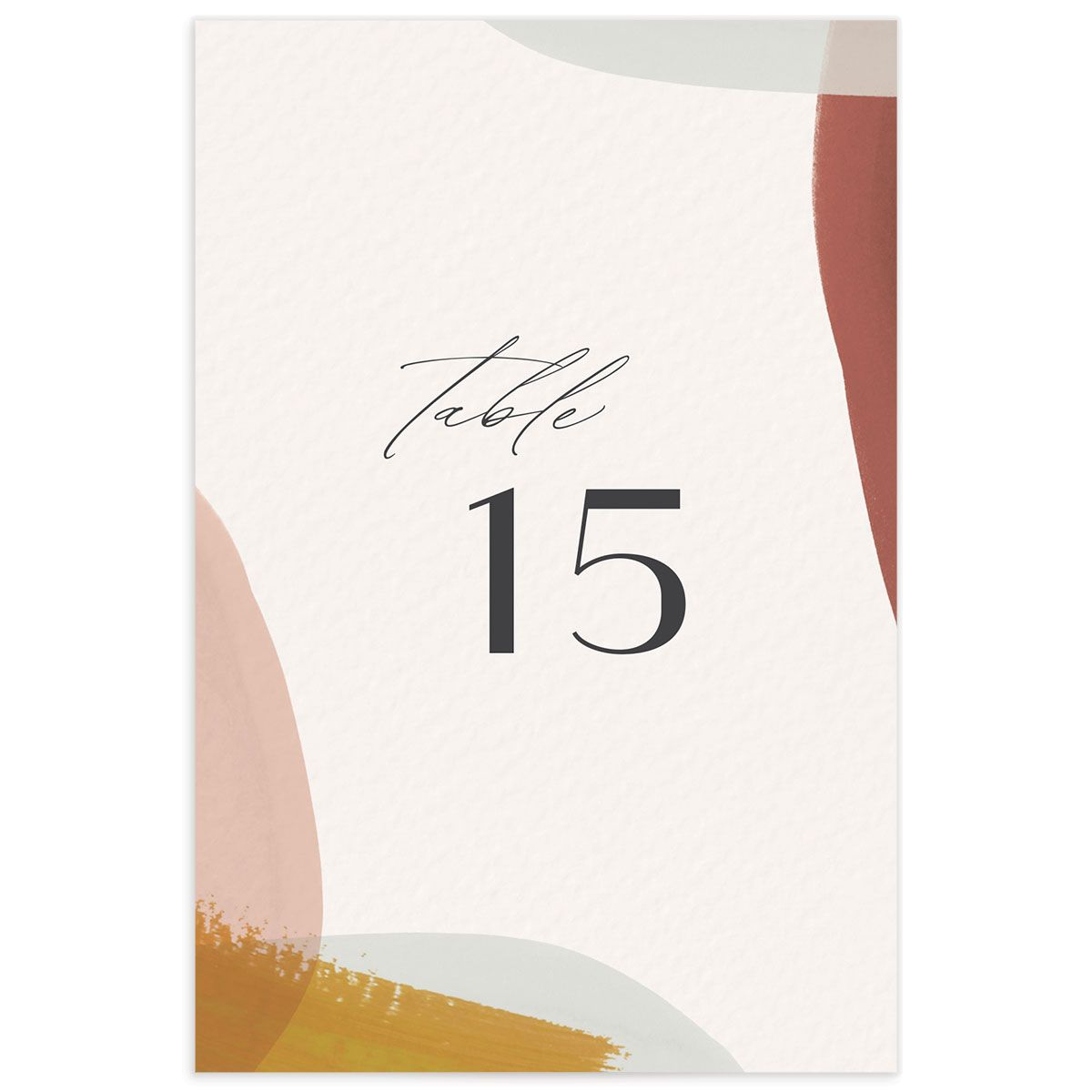 Abstract Watercolor Wedding Table Number front in marigold
