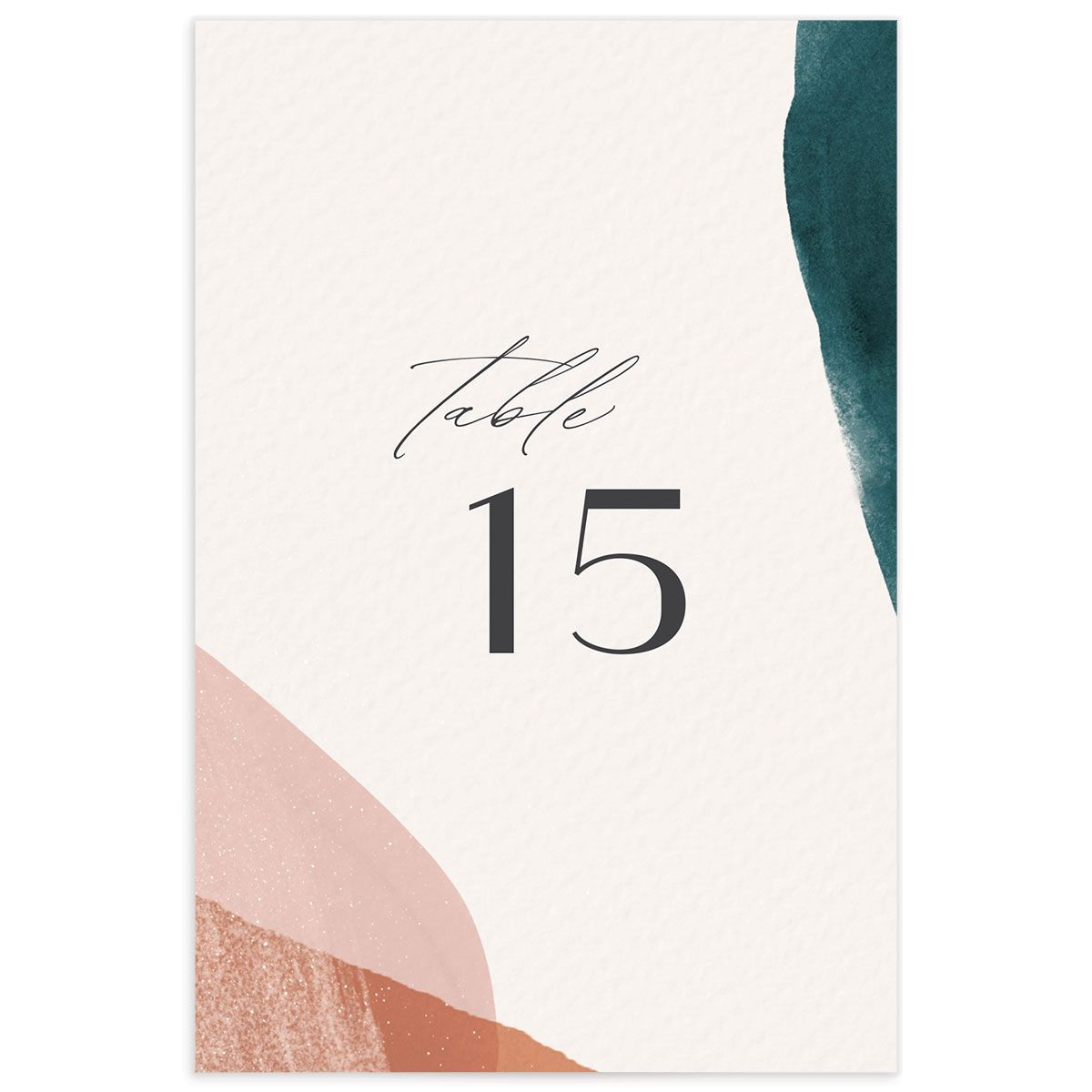 Abstract Watercolor Wedding Table Number back in teal