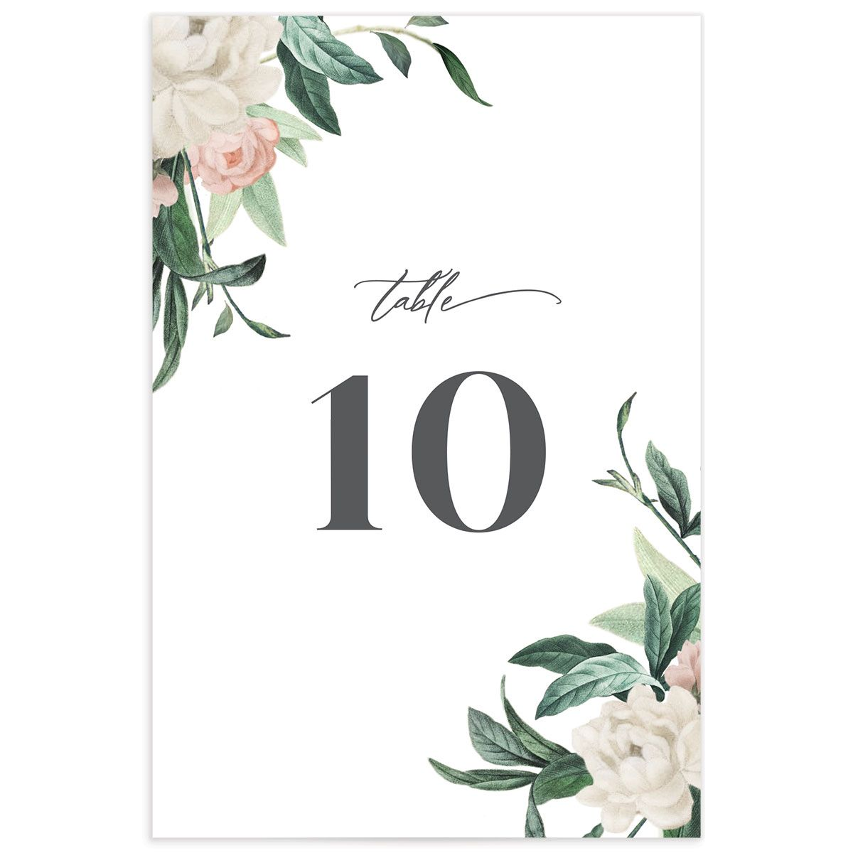 Botanica wedding table number front