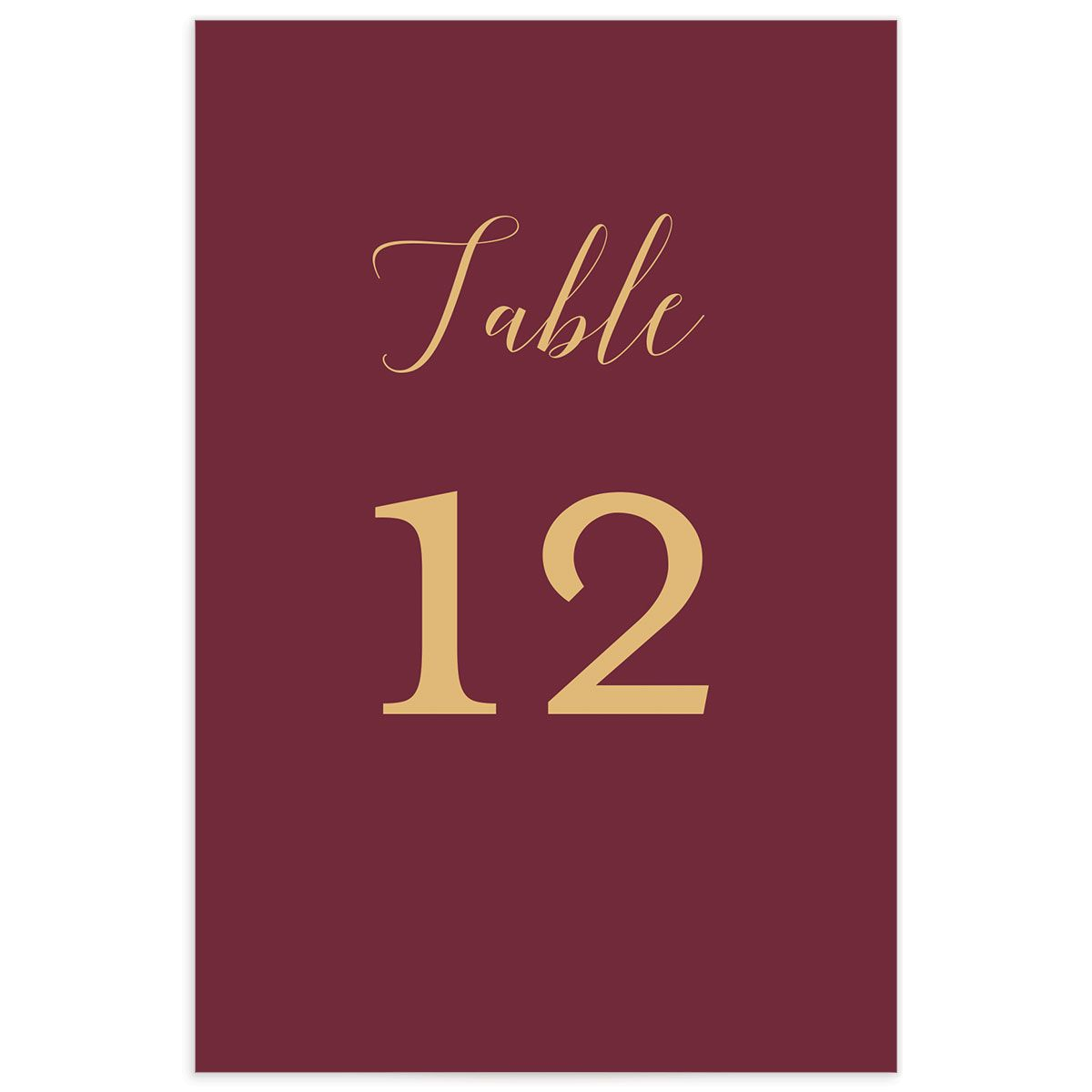 Marble and Gold table number front in red