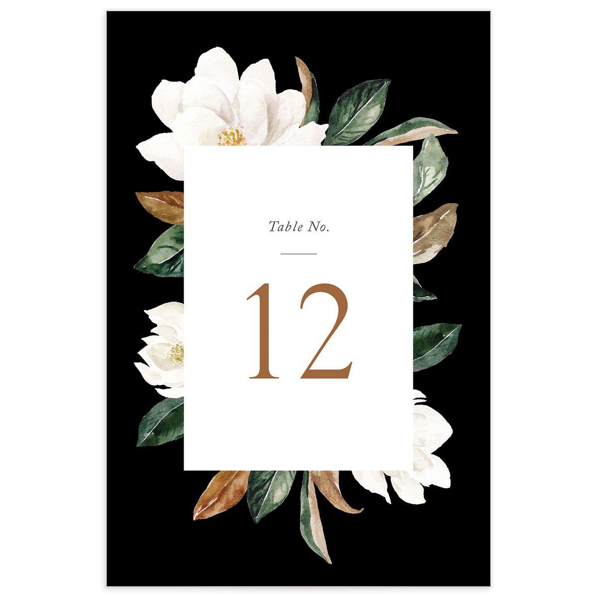 Painted magnolia wedding table number front in black