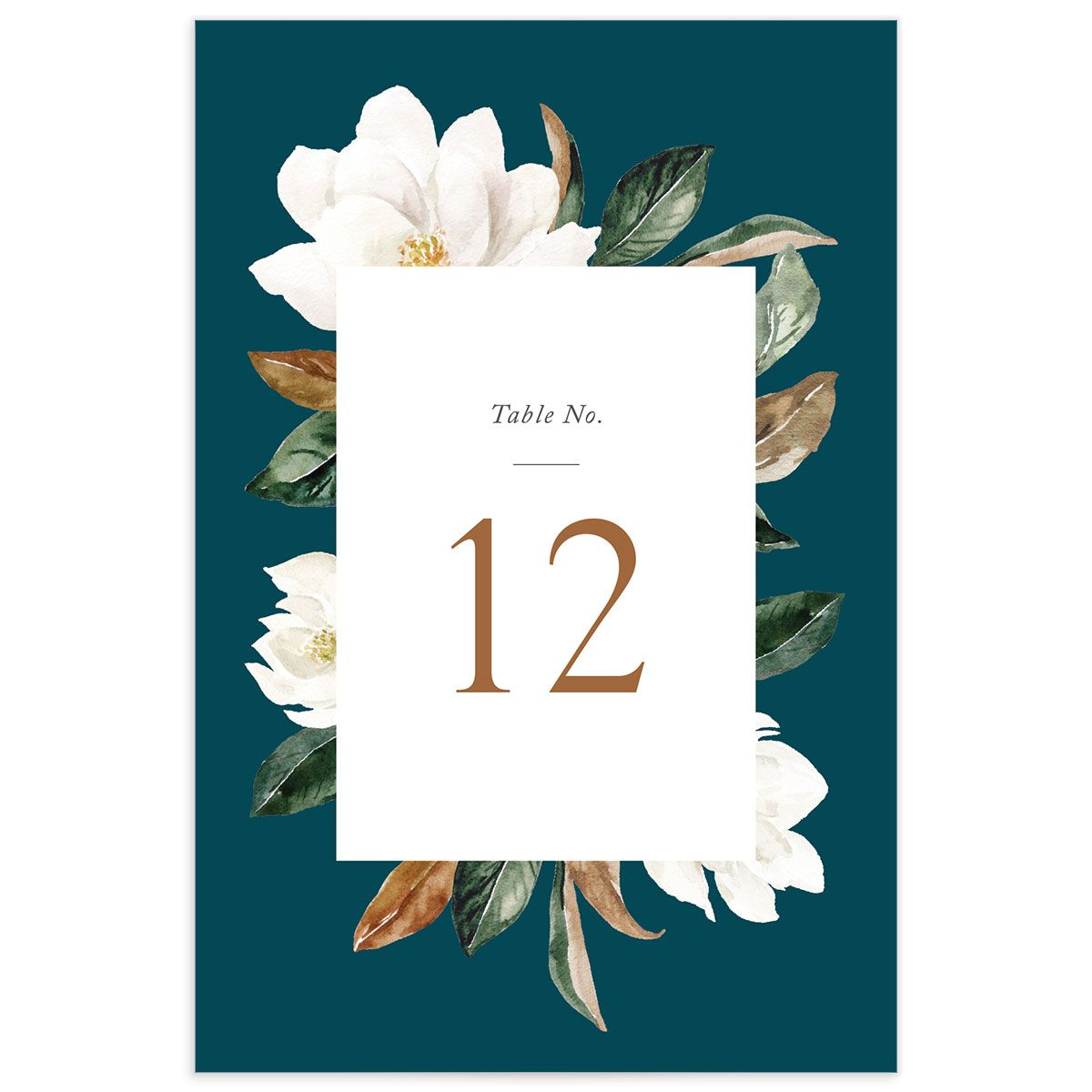 painted magnolia wedding table number front in teal