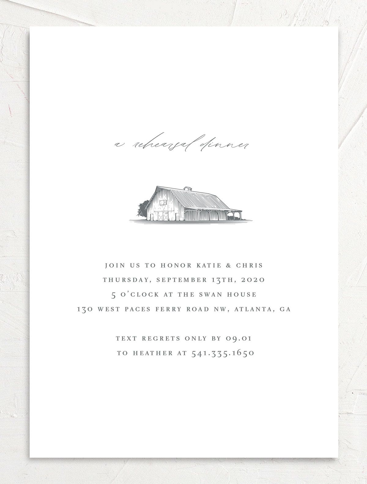 Classic Landscape Rehearsal Dinner merch front with barn