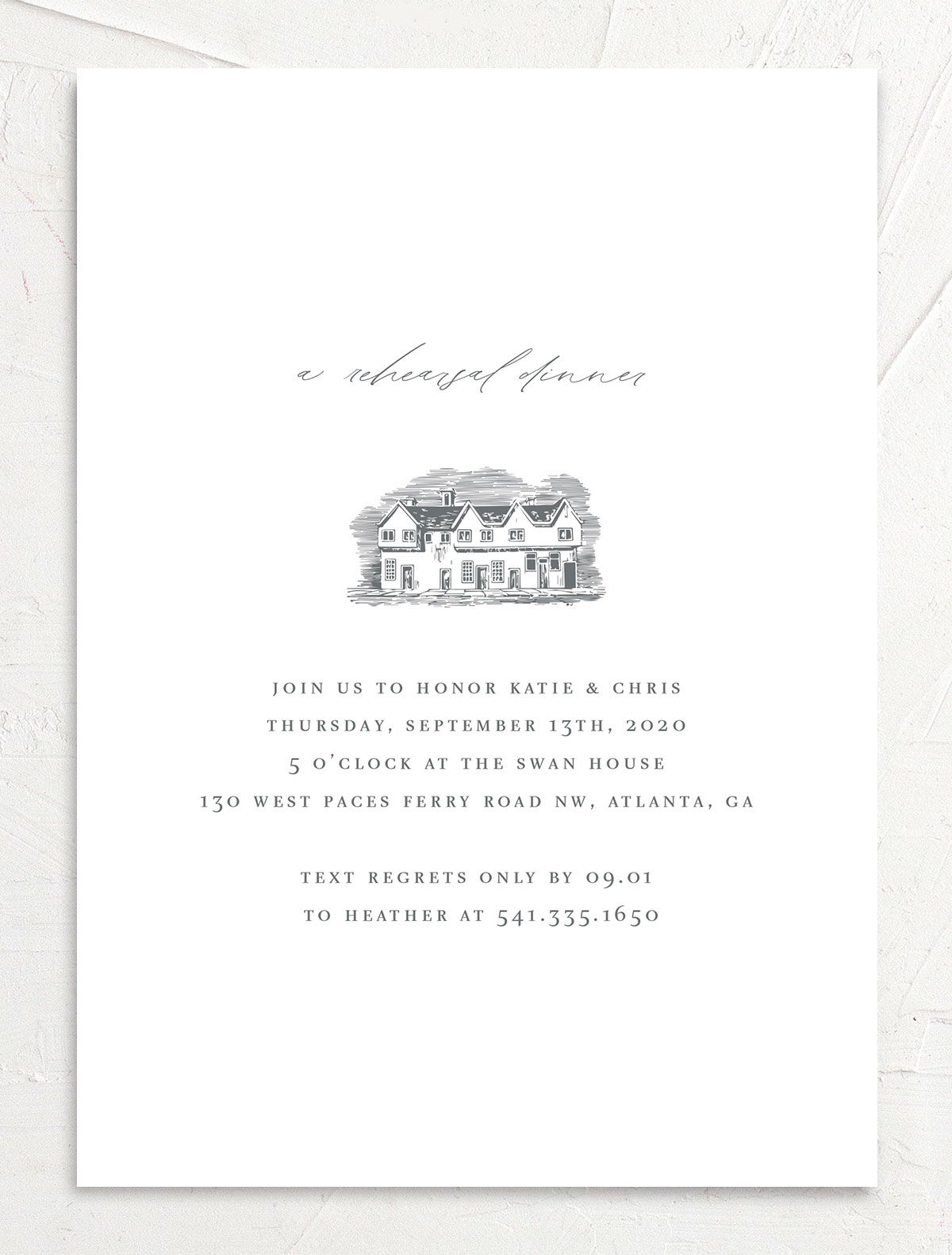 Classic Landscape Rehearsal Dinner Invitation Front with Estate