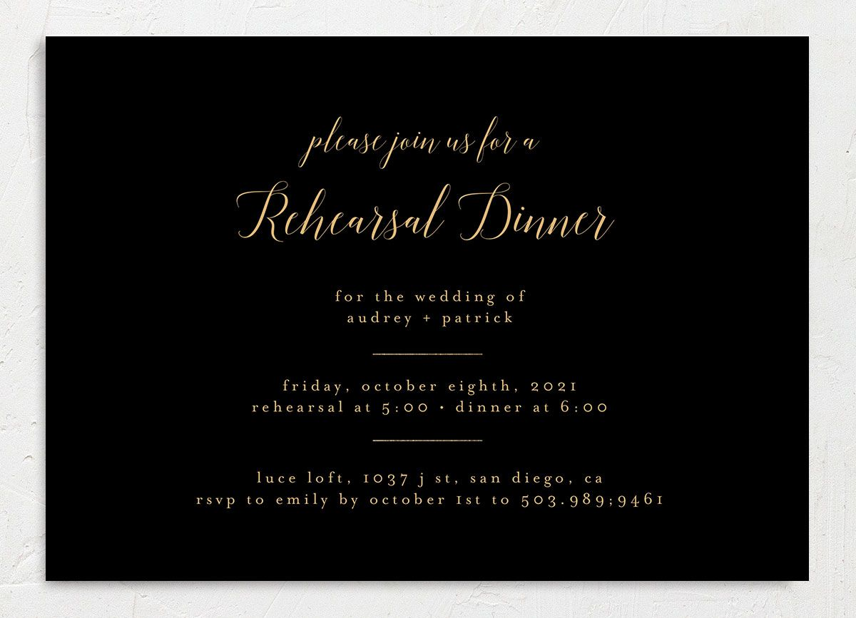 Marble and Gold Rehearsal Invites front black closeup