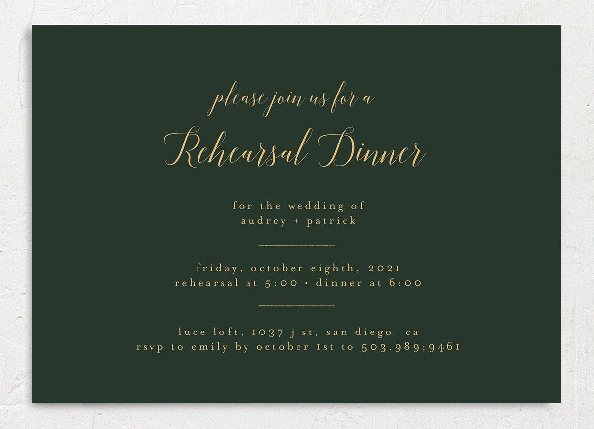 Marble and Gold Rehearsal Invites front green closeup