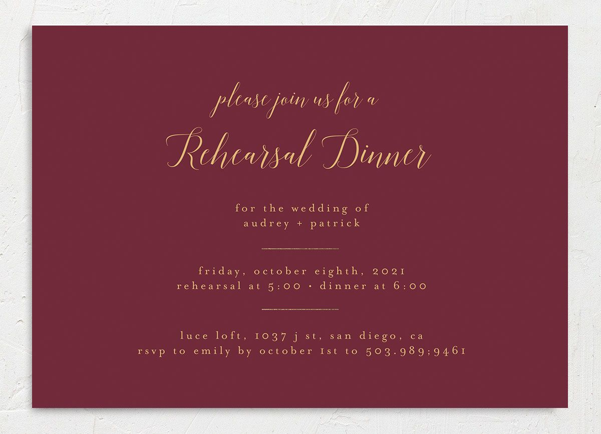 Marble and Gold Rehearsal Invites front red closeup