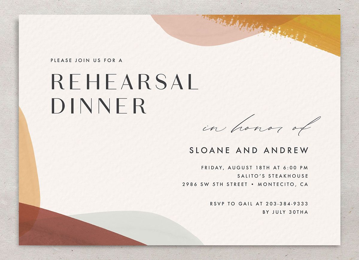 Abstract Watercolor Rehearsal Dinner Invite front in marigold closeup