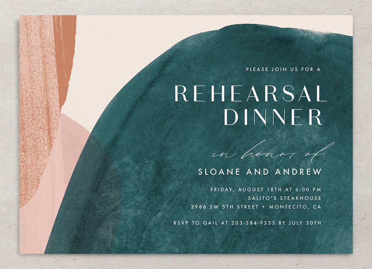 Abstract Watercolor Rehearsal Dinner Invite front in teal closeup