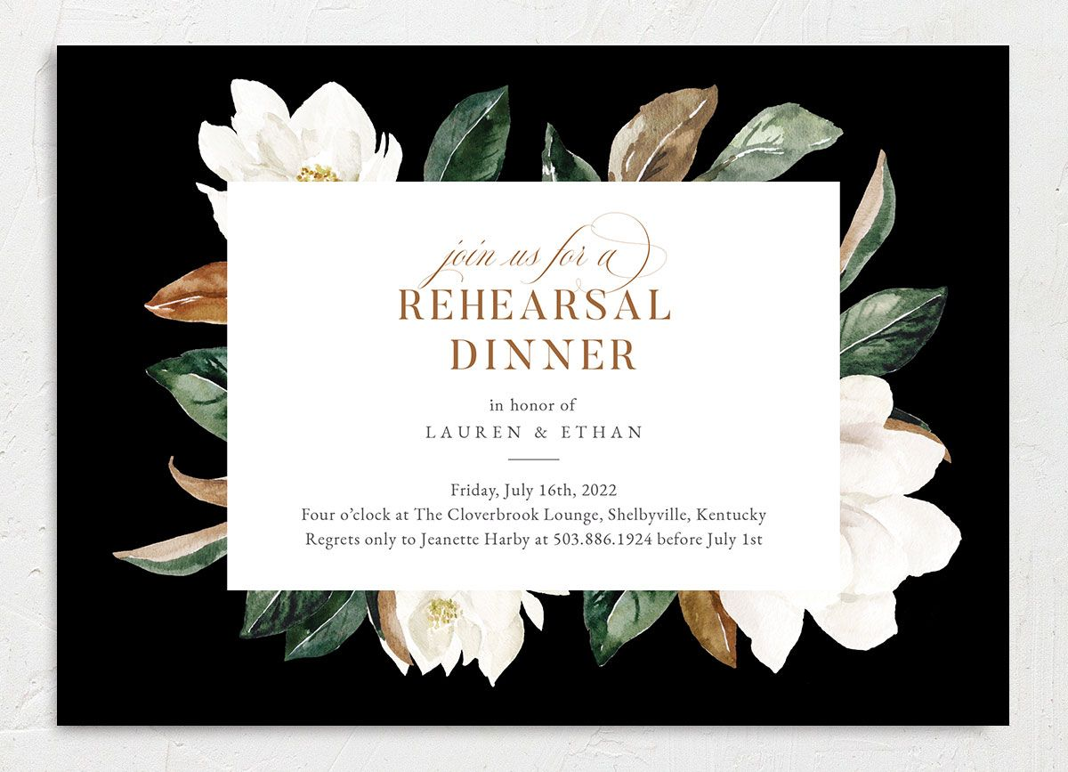 Painted Magnolia Rehearsal Dinner Invite Front Closeup in Black
