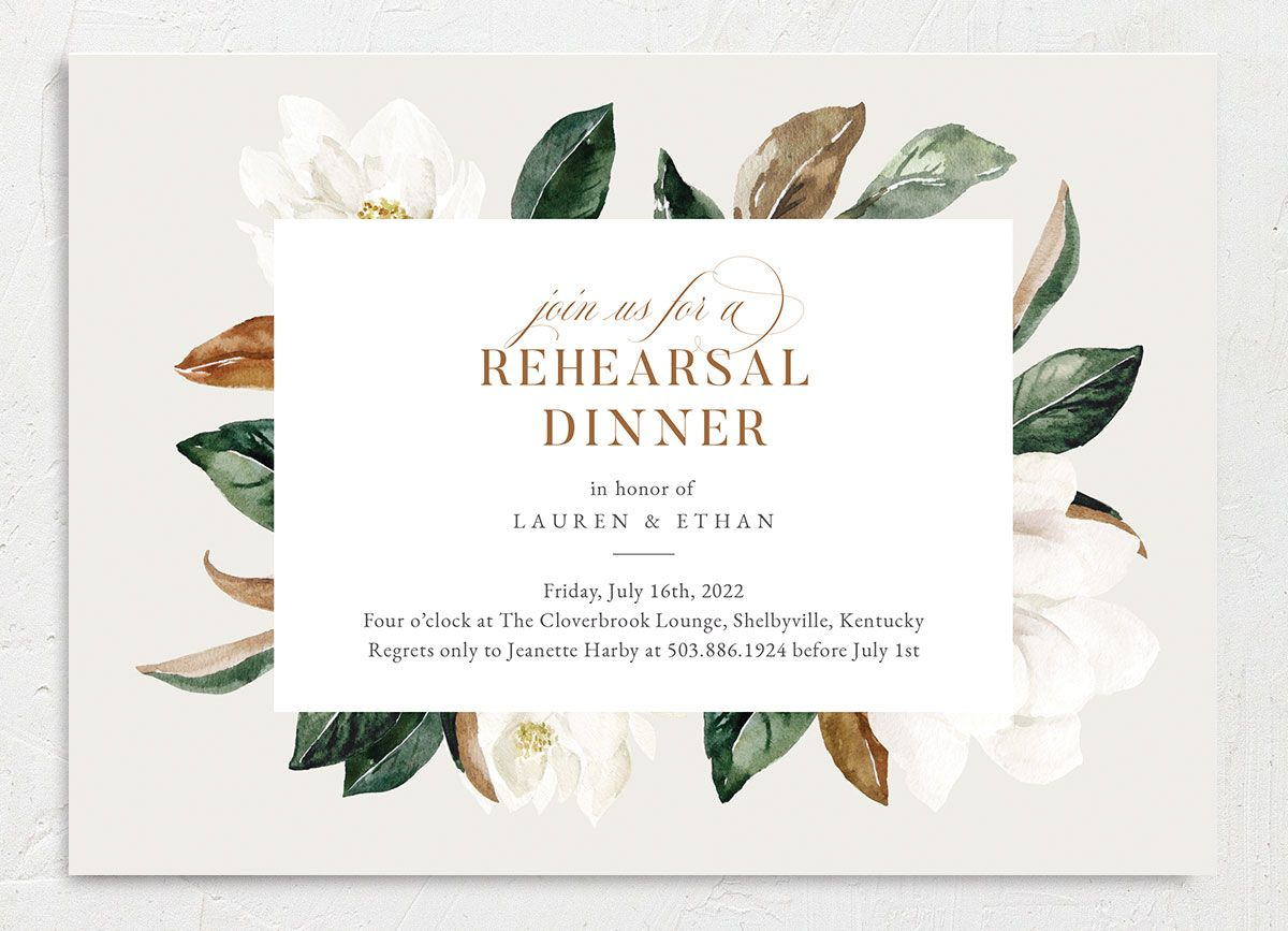 Painted Magnolia Rehearsal Dinner Invite Front Closeup in Grey