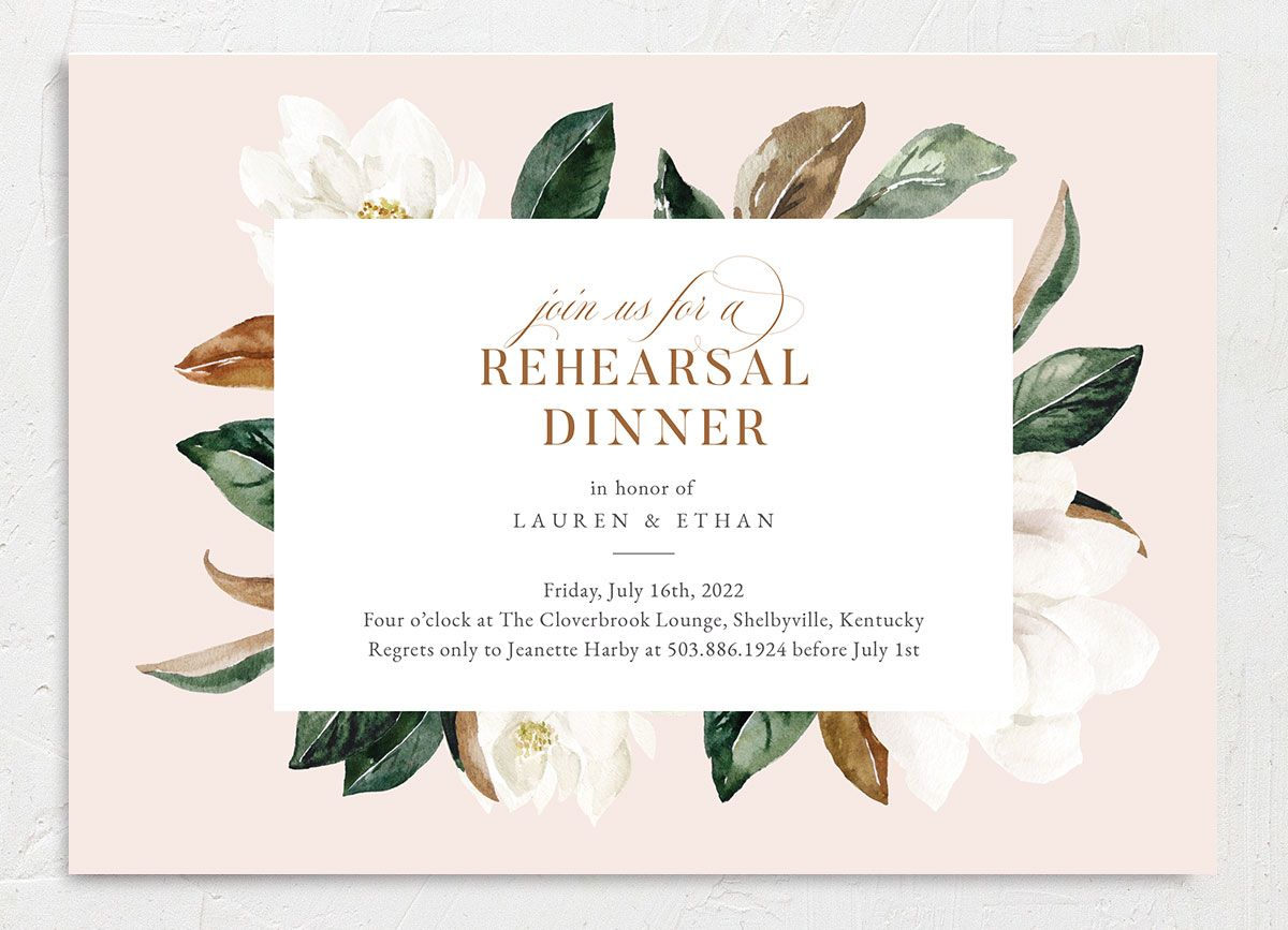 Painted Magnolia Rehearsal Dinner Invite Front Closeup in Pink