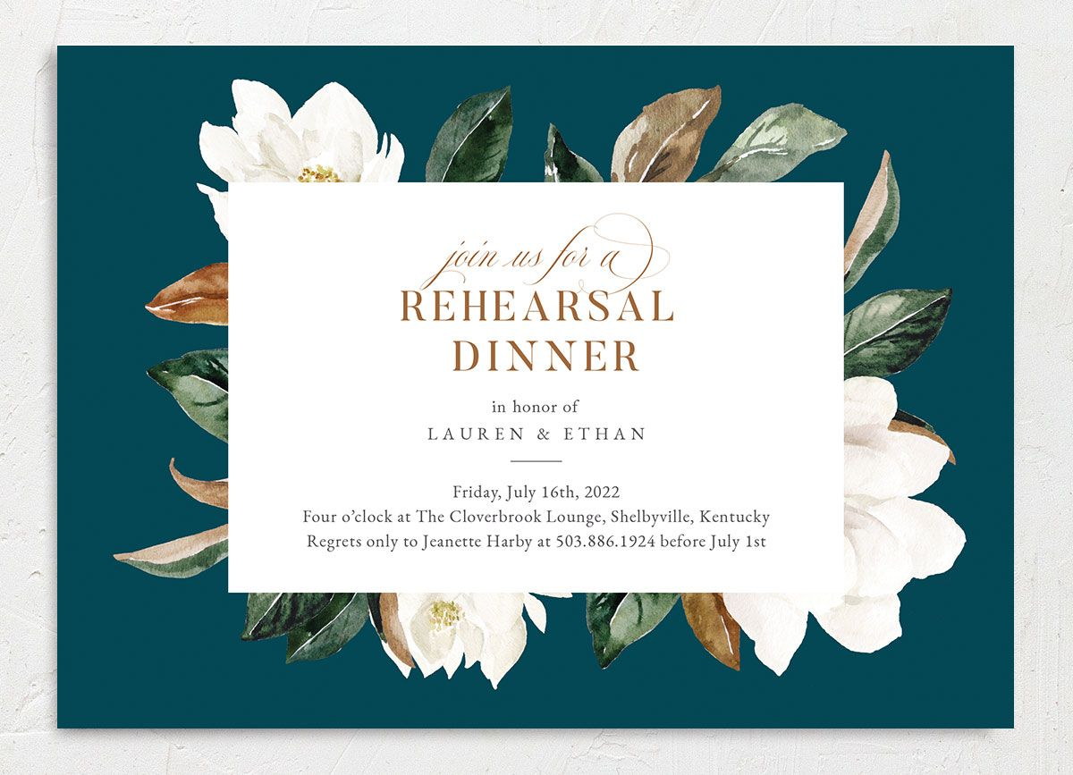 Painted Magnolia Rehearsal Dinner Invite Front Closeup in Teal