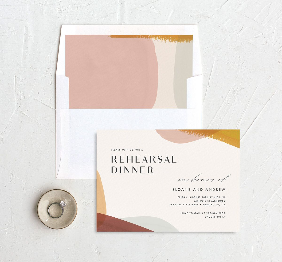 Abstract Watercolor Rehearsal Dinner Invite with DIY envelope liner in gold