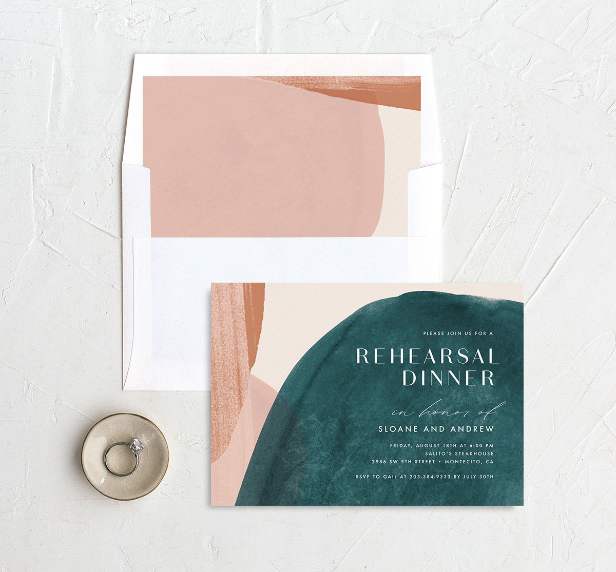 Abstract Watercolor Rehearsal Dinner Invite with DIY envelope liner in teal