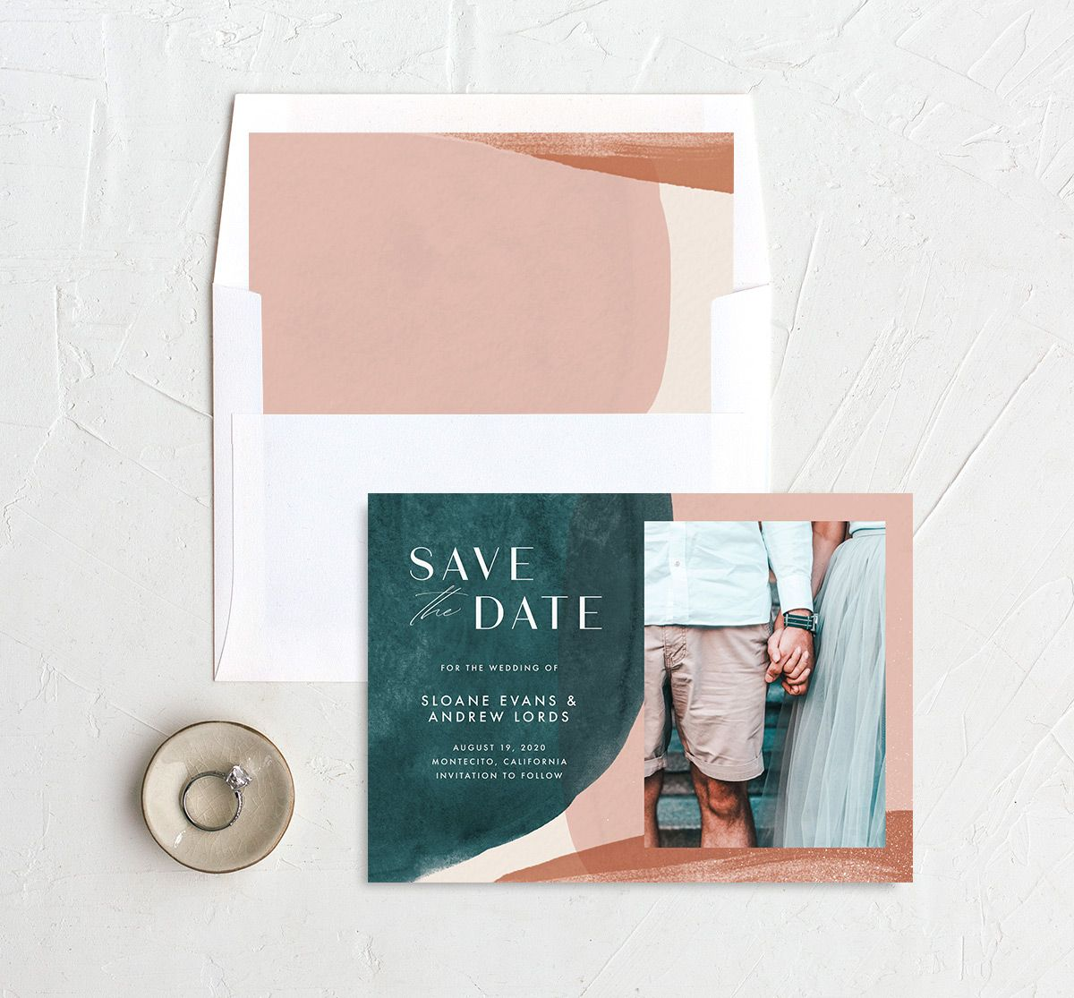 Abstract Watercolor Save the Date with DIY envelope liner in teal