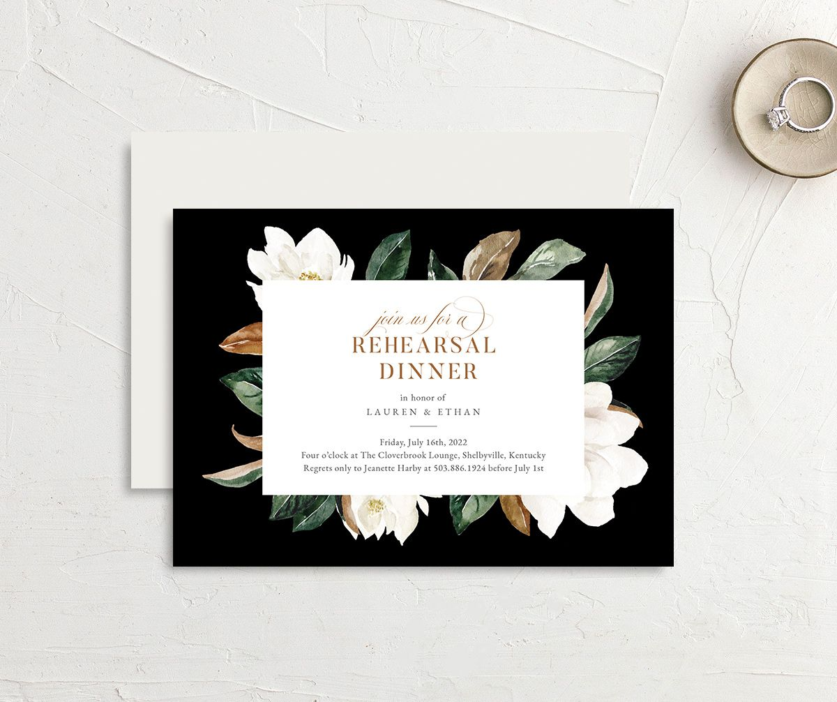 Painted Magnolia Rehearsal Dinner invite front & back in black