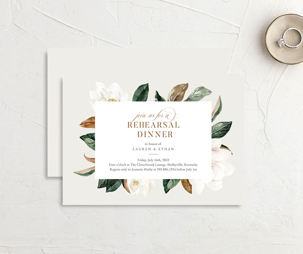 Painted Magnolia Rehearsal Dinner invite front & back in grey
