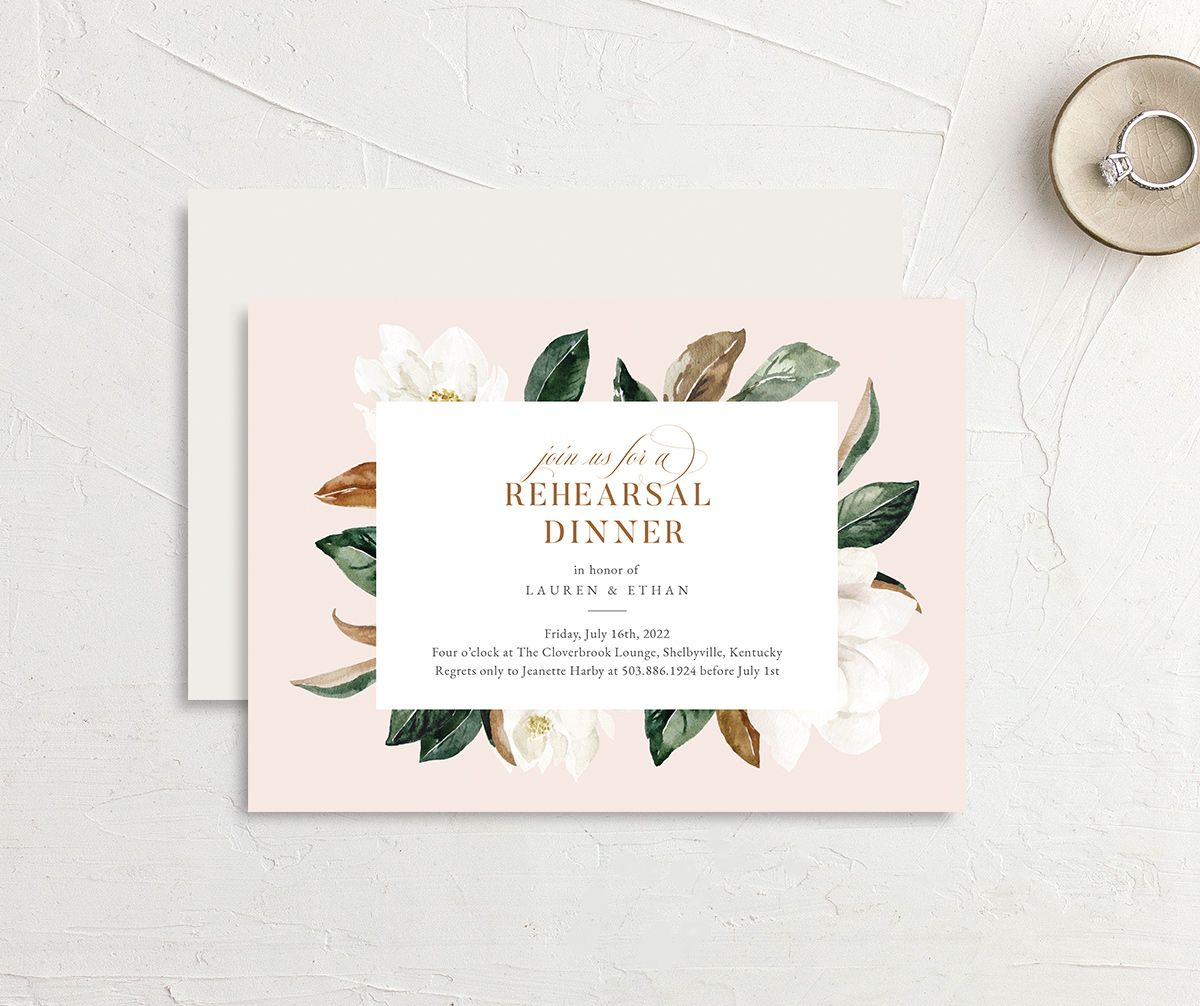 Painted Magnolia Rehearsal Dinner invite front & back in pink