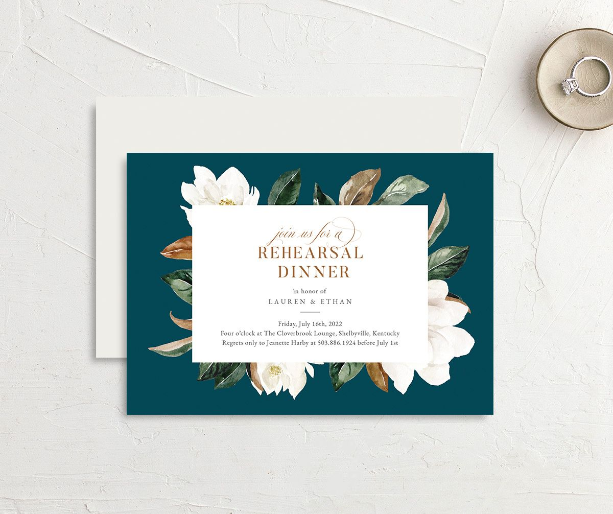 Painted Magnolia Rehearsal Dinner invite front & back in teal