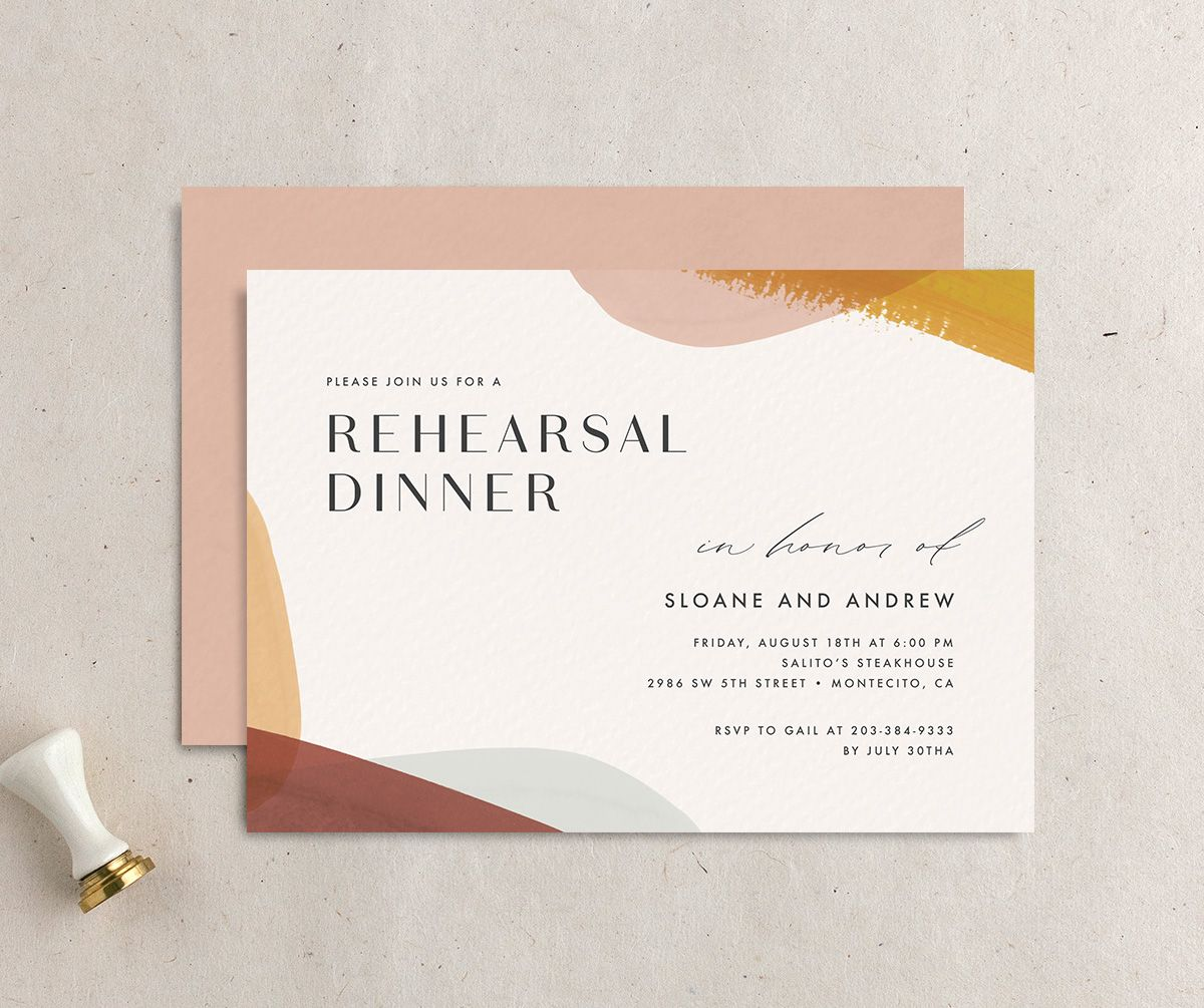 Abstract Watercolor Rehearsal Dinner invitation front & back in marigold