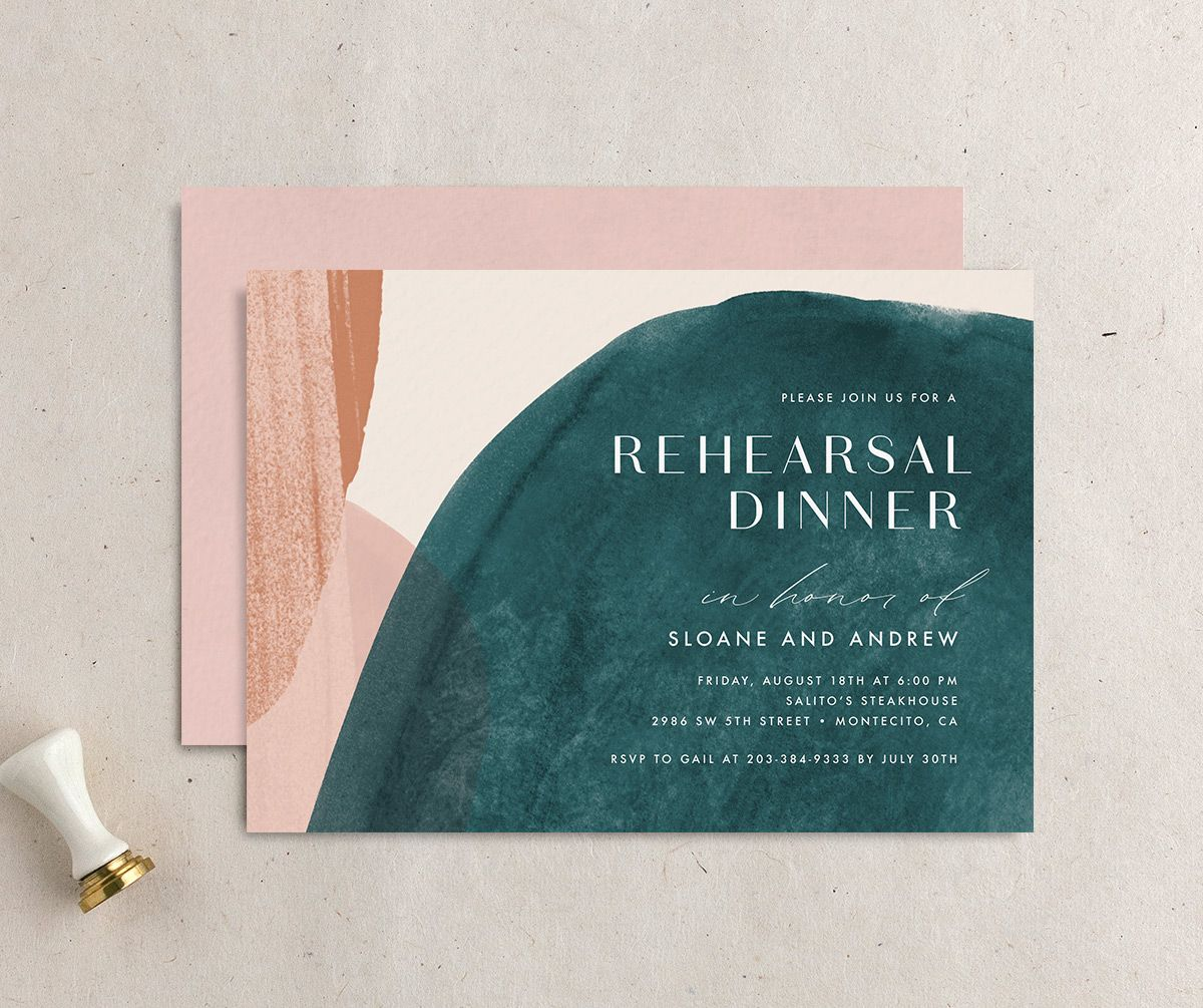 Abstract Watercolor Rehearsal Dinner invitation front & back in teal
