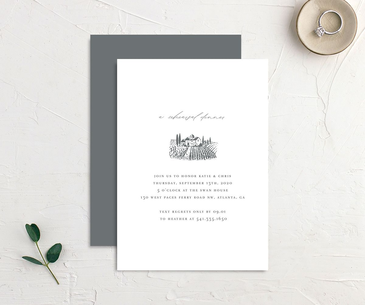 Classic Landscape Rehearsal Dinner Invitation with vineyard merch