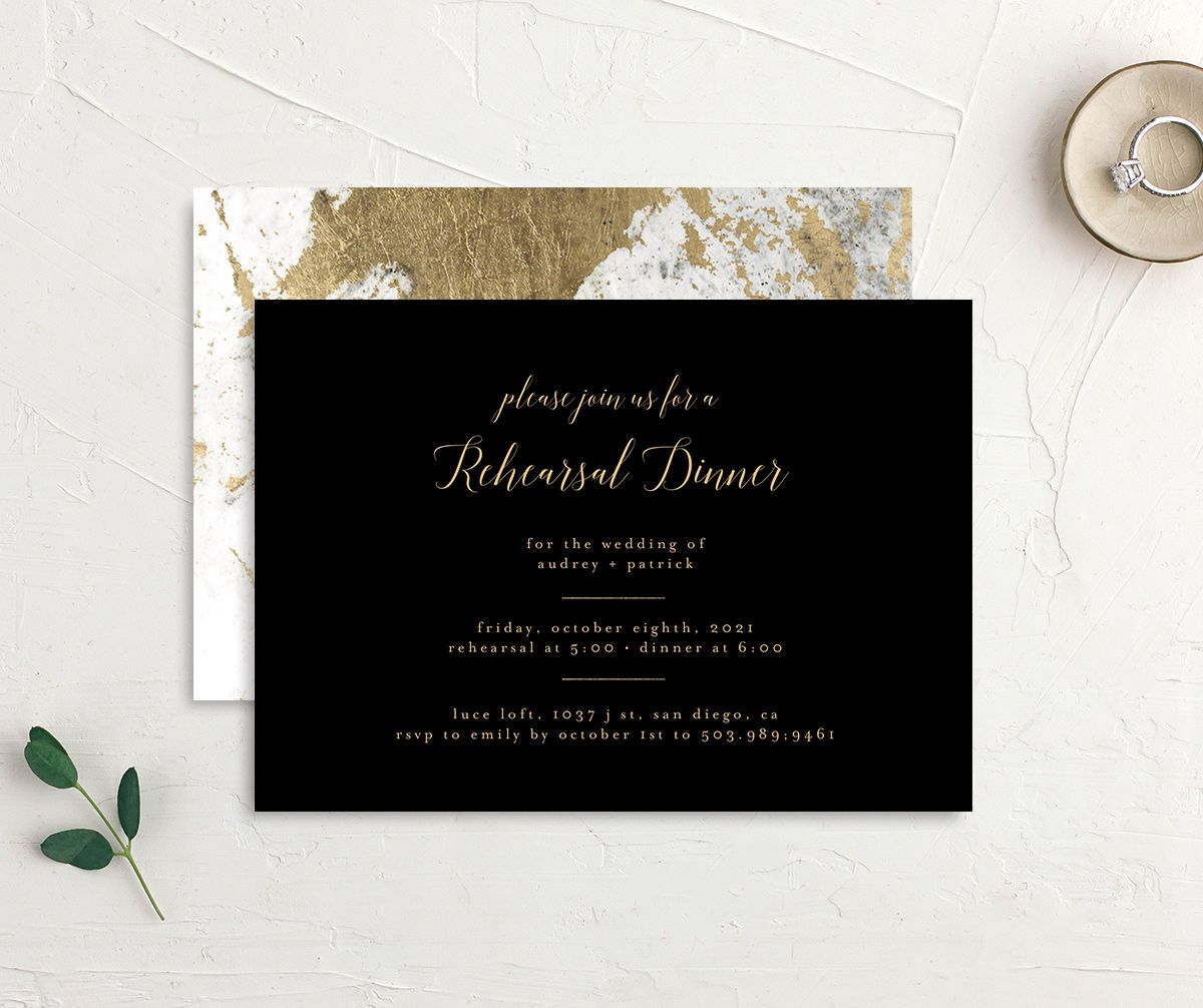 Marble and Gold Rehearsal Dinner invite in black front & back image