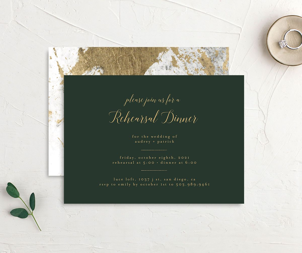 Marble and Gold Rehearsal Dinner invite in green front & back image