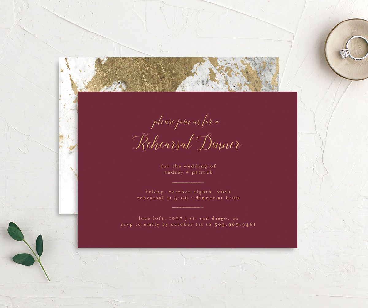 Marble and Gold Rehearsal Dinner invite in red front & back image