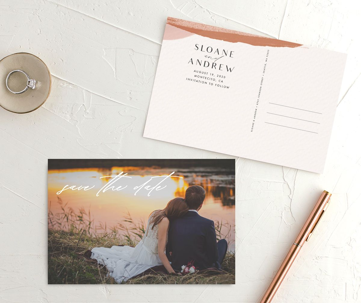 Abstract Watercolor save the date postcard front & back in teal