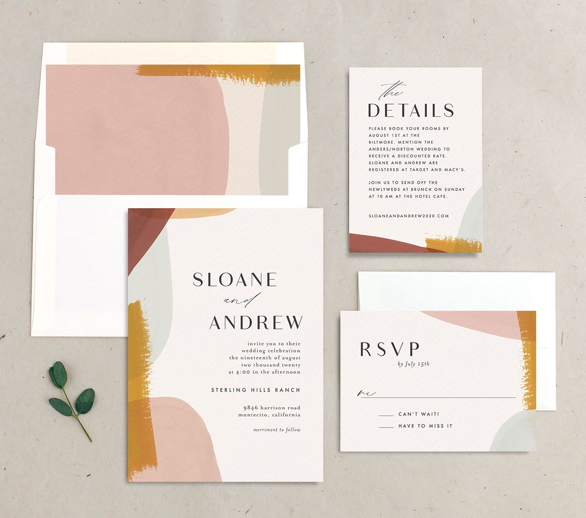 Abstract Watercolor rehearsal dinner invitation stylized merch in gold