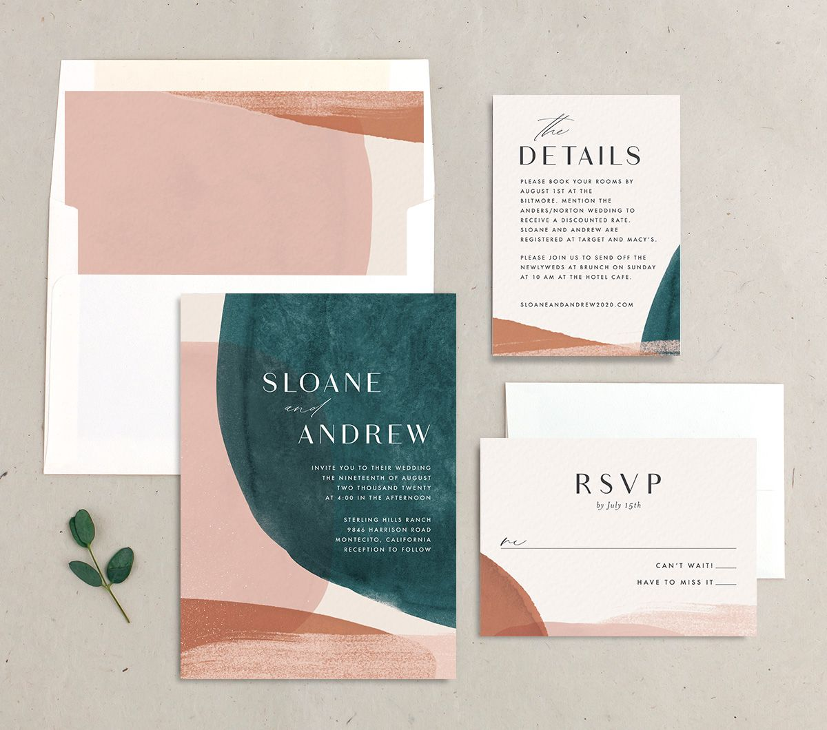 Abstract Watercolor Wedding Invitation Set in Teal