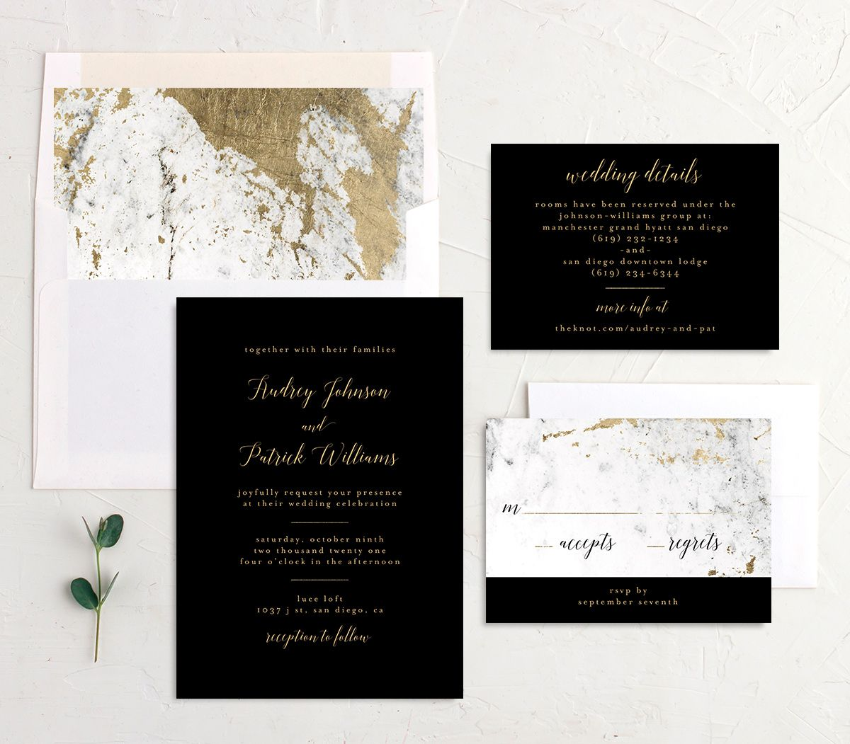 Marble and Gold Wedding Invitation Suite shown in black